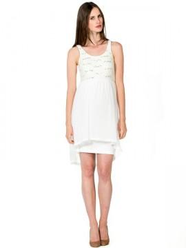 Biele tehotenské šaty s flitrami a čipkou aeb047ff5a9