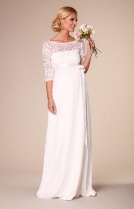 9ce1bad15664 Lucia svadobné šaty pre tehotné nevesty dlhé s čipkovaným dekoltom - Lucia  svadobné šaty pre tehotné nevesty ...