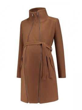 Tehotenský kabát Double zipper Camel 662af1f562f