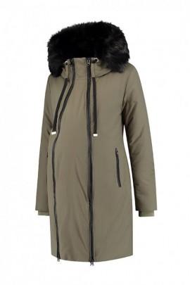 ... Love2wait - Khaki tehotenská bunda na zimu so vsadkou ... 3f9d5d6c25f