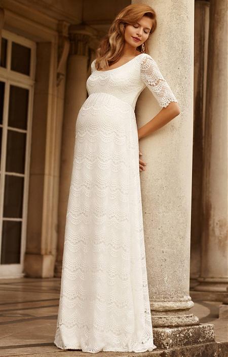 edd13f8be487 Tehotenské svadobné šaty Verona s matnou čipkou