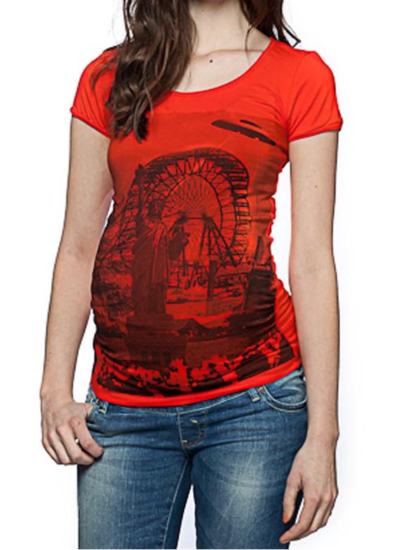 Love2wait Tehotenské tričko Liberty červené, veľkosť S/36