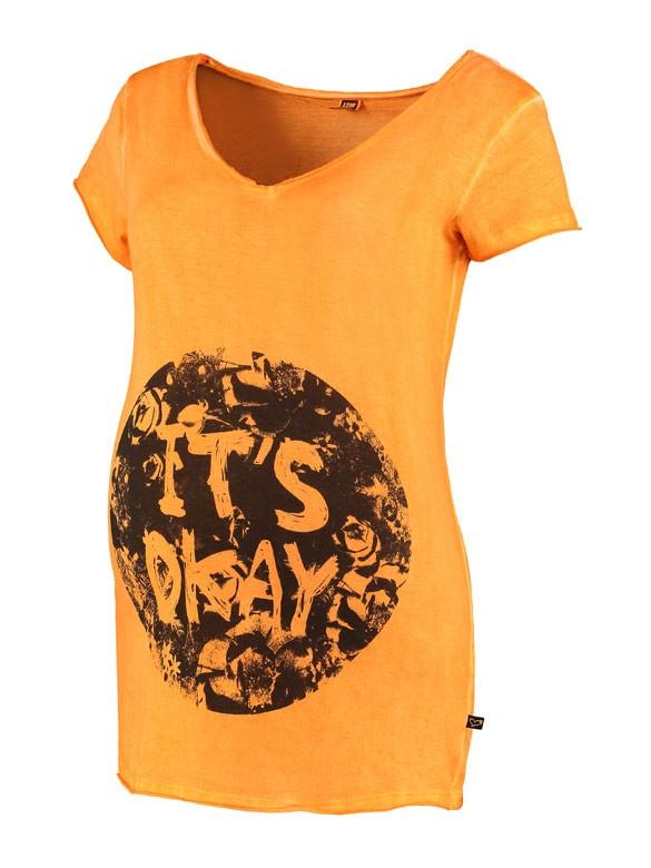 Love2wait Its Okay tehotenské tričko oranžové, veľkosť S/36