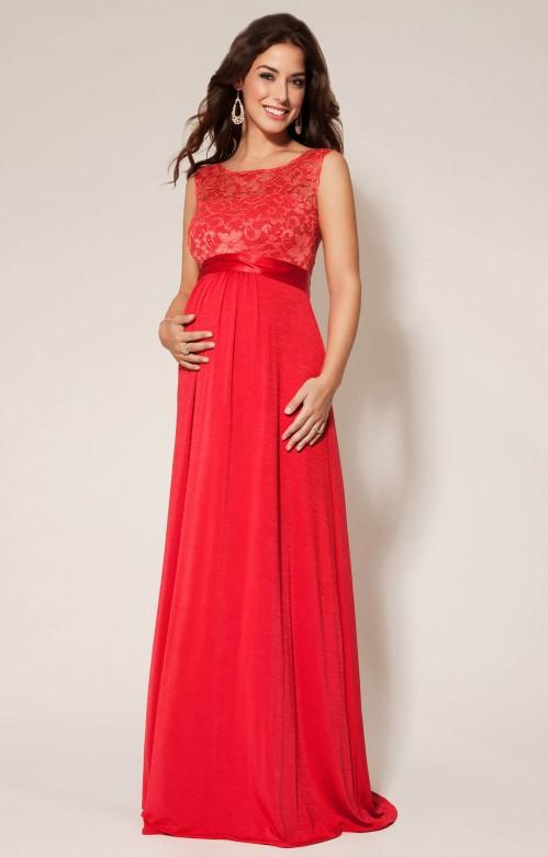 Tiffany Rose Valencia spoločenské tehotenské šaty červené, veľkosť L/XL
