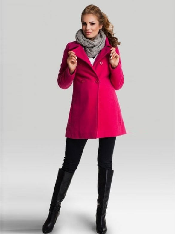 Happy Mum Elegantný tehotenský kabát berry, veľkosť M/38