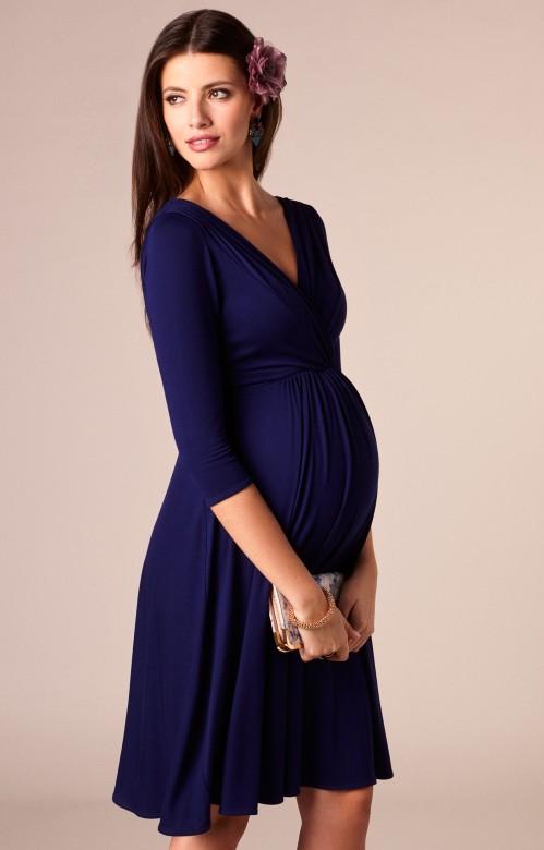 ba7af146f723 Tiffany Rose Elegantné šaty pre tehotné tmavomodré