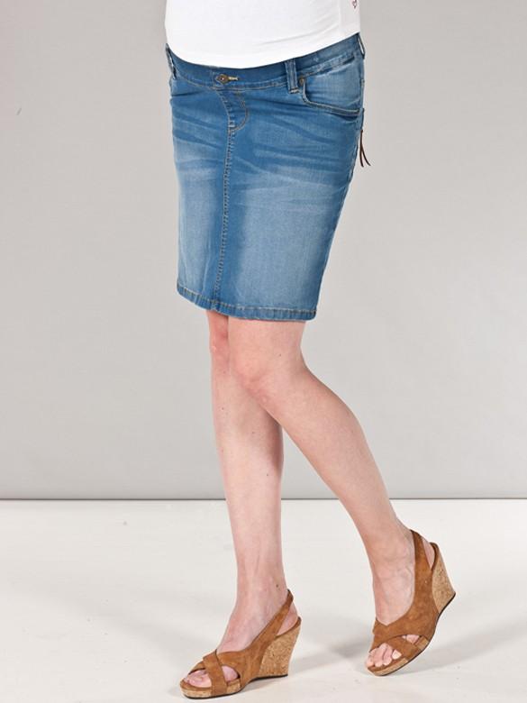 Love2wait Denim Zip pockets tehotenská rifľová sukňa, veľkosť 28/S