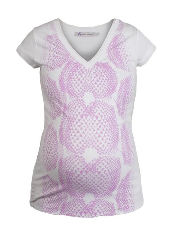 Queen Mum Printed tehotenské tričko ružové, veľkosť M/38